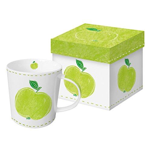 PPD Fashion Apple Trend-Henkelbecher, Kaffeebecher, Kaffee Tasse, Magnesiumporzellan, Hellgrün / Weiß / Grün, 350 ml, 602730