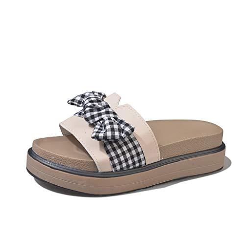 Damessandalen, mantels, zomer, mode, wild, platte bodem, sandalen met dikke bodem, strand, zee, vakantie, dagelijks gebruik, boog, sandalen en zomerschoenen.