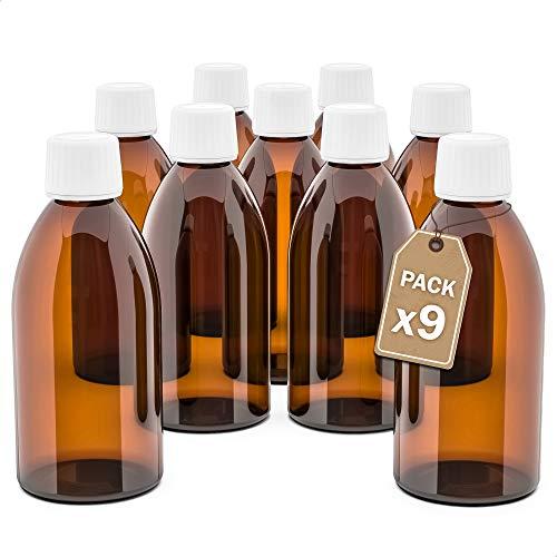 LG Luxury & Grace Pack 9 Frascos de Cristal, 250 ml. Botes de Cristal Ámbar. Cierre de Rosca y Dosificador Gotero. Botellas Rellenables. Dosificación y Almacenamiento de Sustancias Líquidas.