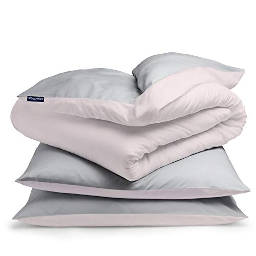 "sleepwise ""Soft Wonder-Edition Bettwäsche (Soft Pink/Light Grey, 200 x 200 cm)"