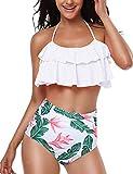 Yuson Girl Mujer Conjunto De Frill Bikini Tiras Talle Alto Tallas Grandes Sexy Traje De Baño Cuello Halter Vintage Vientre Plano con Volantes Top Bikini Push Up Flores Braga Triangulo Alta