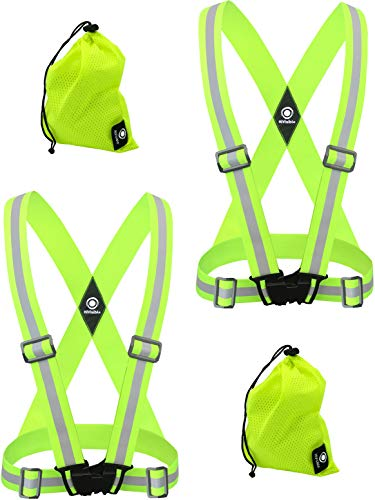 HiVisible 2 x Reflective Vests - Reflective Running Gear for Men and Women for Night Running, Biking, Walking. Reflective Running Vest, Safety Straps, Reflector Strips