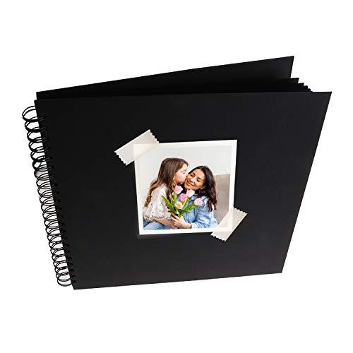 MP - Álbum Scrapbooking, Portada Gruesa, 20 Hojas Cuadradas, Negro - 30x30 cm