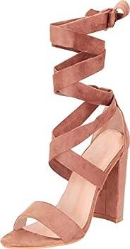 Cambridge Select Women s Open Toe Crisscross Strappy Ankle Wrap Tie Chunky Block Heel Sandal,8 B M  US,Taupe IMSU