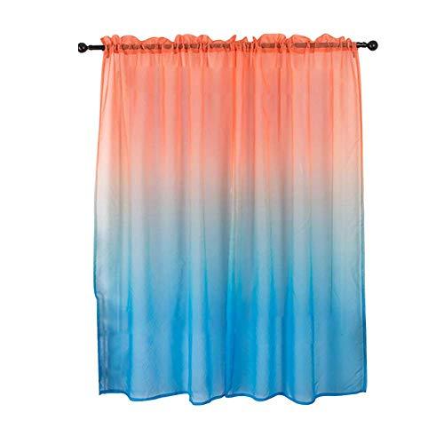 POHOVE Gradient Vorhang Gradient Voile Gardine Gradient Mädchen Vorhänge Einzel Vorhang Panel Tasche Fenster Vorhänge Pastell Schlafzimmer Dekor Einfache Installation - Rosa und Blau, 1x2m