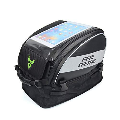 DOLA Borsa da Serbatoio per Moto con Touchscreen Trasparente - Impermeabile Grande capacità Motocicletta Sedile Posteriore Zaino per Escursioni All'aperto in Bicicletta,Verde