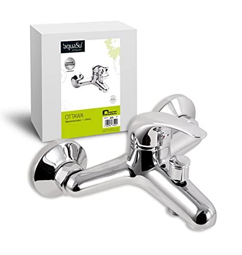 'aquaSu® Einhandmischer Ottawa für Wanne | Chrom | Wasserhahn | Bade-Einhebelmischer | Wannenarmatur | Badewanne | Wannenbatterie | Mischbatterie | Armatur mit Brauseanschluss