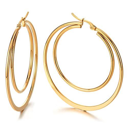 Paar Große Doppel Flach Glatte Kreis Creolen für Damen, Edelstahl Huggie Ohrringe Mädchen,Gold