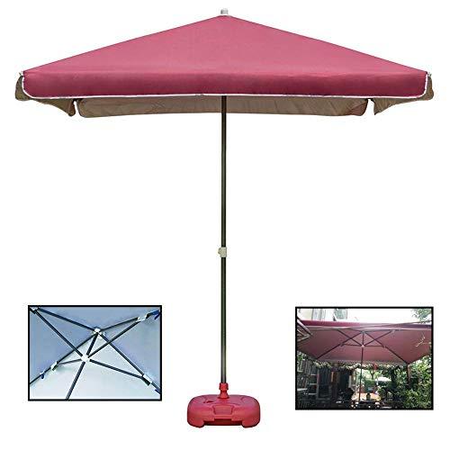 Riyyow Parasol Umbrella Uso Comercial Patio Paraguas, Patio Mercado Meseado Umbrella con 30kg Base de Paraguas Llena de Agua, fácil de Montar (Color : Red Wine)