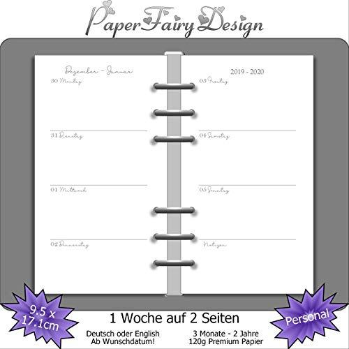Kalendereinlagen 2020/2021/2022 - Personal (9,5cm x 17,1cm) - 1 Woche auf 2 Seiten - 120g Premium Papier