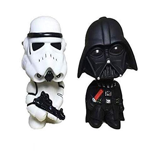 ZBM--ZBM Autoverzierungen 2 Stück Mini Schwarz Darth Vader Weiß Stormtrooper Modell Star Wars Action-Figur Wackelkopf-Puppe Auto Armaturenbrett Innen Ornament Zubehör Cos Ninja Schildkröte Kinder SPI