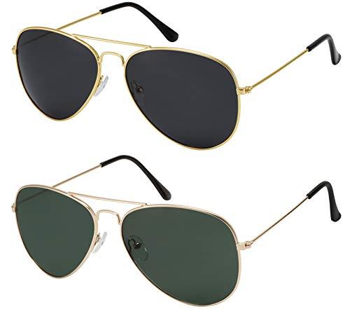 La Optica B.L.M. Herren Sonnenbrille Damen UV400 Pilotenbrille Fliegerbrille 70er Jahre Groß - Doppelpack Set Gold Farben (Gläser: Grau, Grün)