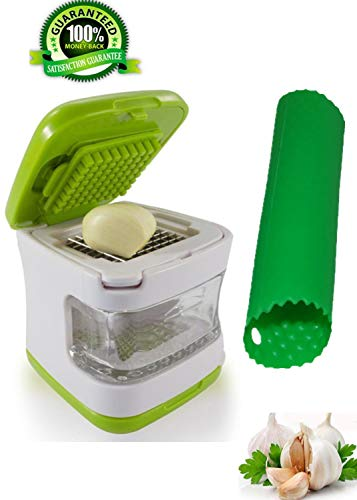 Garlic Press-Garlic Chopper Grinder Twister,Squeezer,3-in-1 Garlic Cube-Crusher,Dicer,Mincer,Slicer,Cutter and Storage Container-Includes Silicone Tube Roller Garlic Peeler-2 Stainless Steel Blades