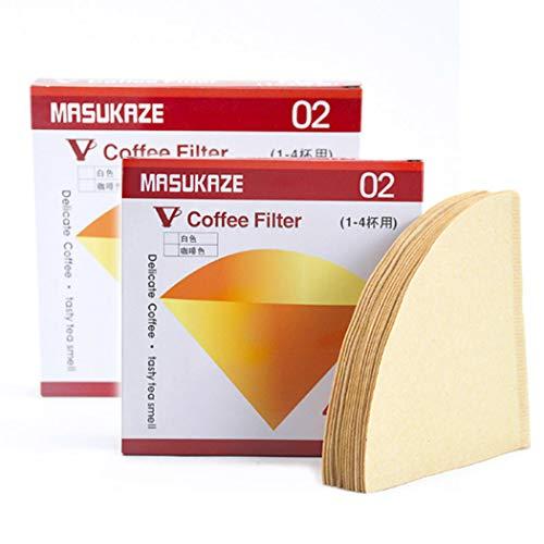 Taktik Kaffeefilter Cone Coffee Paper V60 Filter Größe 01 für 1-2 Tassen und Größe 02 für 1-4 Tassen Natur ungebleicht 80 Blatt