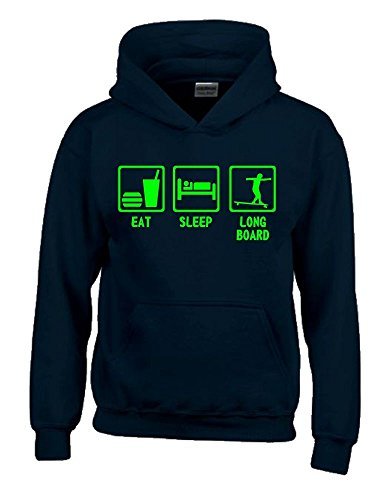 Coole-Fun-T-Shirts EAT Sleep Longboard Kinder Sweatshirt mit Kapuze Hoodie schwarz-Green, Gr.152cm