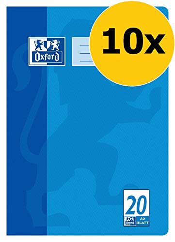 Oxford Schule Schulheft A4, blanko, Lineatur 20, 32 Blatt, blau, 10er Pack