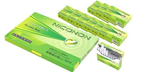 NICONON ニコノン 禁煙後の新しいカタチ。アイコス互換機 次世代ニコチン0mg加熱式スティック (アイスシトラス, 1カートン(10箱入り)