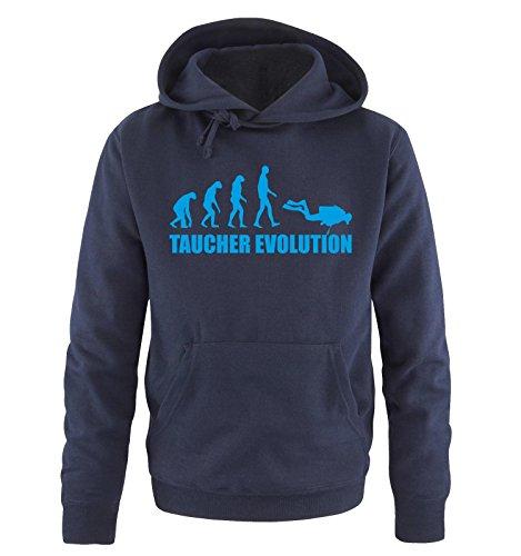 Comedy Shirts Taucher Evolution -Herren Hoodie in Navy / Blau Gr. XL
