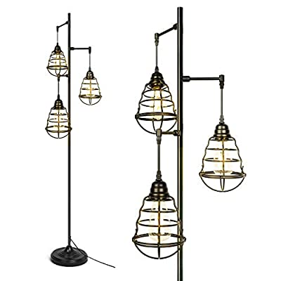 3-Light Black Industrial Floor Lamp Farmhouse Rustic Standing Lamp for Living Room Bedroom Study Office Modern Tree Tall lamp with Metal Shade