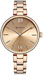 Curren 9017 Quartz Movement Round Dial Stainless Steel Strap Waterproof Women Wristwatch -Rose Gold