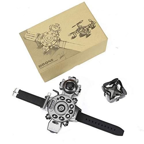 Huachaoxiang Reloj de Drone, Control de Reloj de 2.4GHz RC Drone Mini Mini PLATABLE Quadcopter, Modelos Regulares/de Video,Gris
