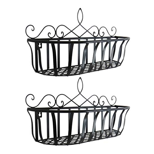 YARNOW 2pcs Iron Art Hanging Baskets Plant Stand Wall- mounted Metal Flower Pot Holders Rustic Farmhouse Planter Hangers Wire Opening Storage Shelf for Indoor Outdoor Black