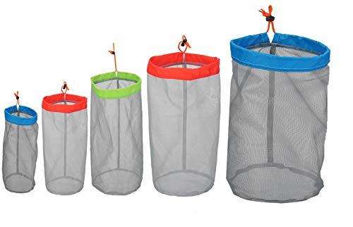 Alemon Small to XXLarge Ultralight Nylon Mesh Bags Sleeping Bag Ditty Sacks Drawstring Storage Bag for Travelling Hiking Set of 5
