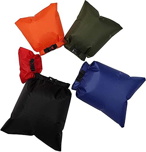 Freenfitmall Bolsas secas impermeables, ligeras y secas para rafting, barcos, multicolor, Verde militar, 5pcs/set,