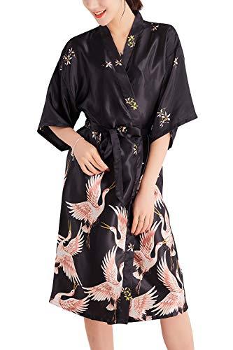 YAOMEI Kimono Albornoz para Mujer, Satín Grua Camisón Robe Albornoz Novia Dama de Honor Ropa de Dormir Pijama, para SPA Hotel Sauna con Bolsillo (XX-Large, Negro)