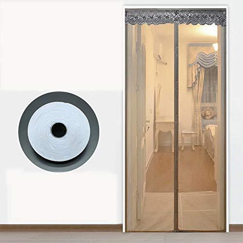 magnetische hordeur automatisch sluitend hor voor full frame klittenband, opvouwbaar, lucht kan vrij stromen, voor gangen/deuren - grijs