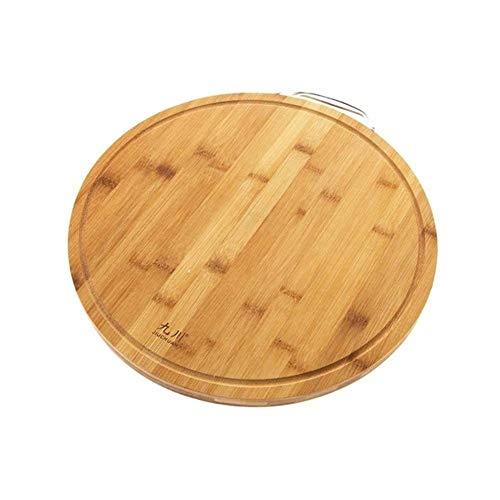 xutu Tabla de cortar de madera con mango de acero, 35,5 cm, redonda de bambú gruesa tabla de cortar bloque de corte de pizza sushi bandeja de pan herramientas de cocina