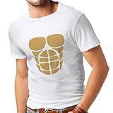 Camisetas Hombre para su Crecimiento del músculo - Camisetas Divertidas del Entrenamiento (Medium Blanco Oro)