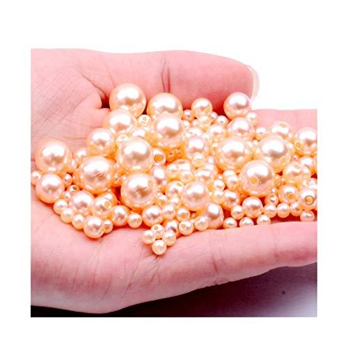 RWEAONT Color de champán 3-12 mm Agujeros Rectos Imitación Redonda Perlas de Perlas de plástico para Accesorios de joyería Beads & Jewelry Fabricación (Size : 5mm 9500pcs)