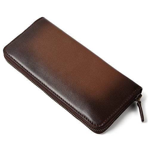 (ラファエロ) Raffaello 一流の革職人が作る スフマート製法で染色したメンズラウンドファスナー長財布(インペリアルチョコ)