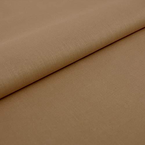 Hans-Textil-Shop Stoff Meterware Baumwolle Linon - Einfarbig, Uni, Schadstoffgeprüfter Stoff, Pflegeleicht, 1 Meter (Taupe)