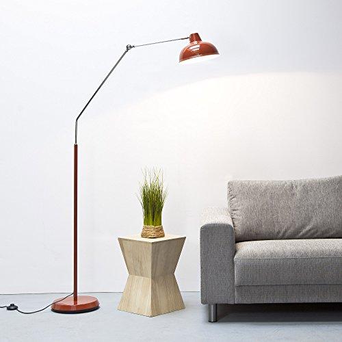 lámpara de pie de gran altura 1,9m retro, llegar a 90cm, 29cm de diámetro Shade (rojo)