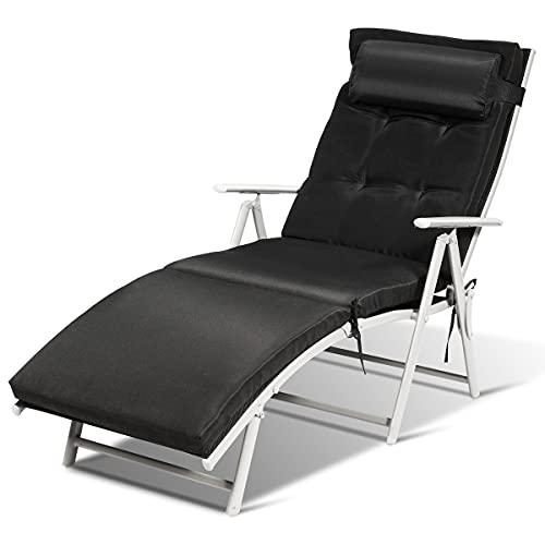 GIANTEX-Tumbona Plegable para Jardín o Playa con Cojines, Respaldo Ajustable en 7 Escalones, Tela Metálica y Textil, 137 x 63,5 x 101 cm, Negro
