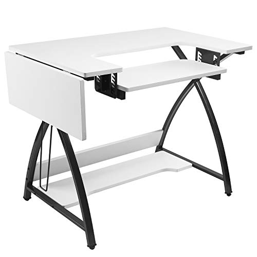 BAHOM Adjustable Sewing Craft Table Multipurpose, Sewing Machine Platform Computer Desk with Shelves, Craft Cutting Table, White