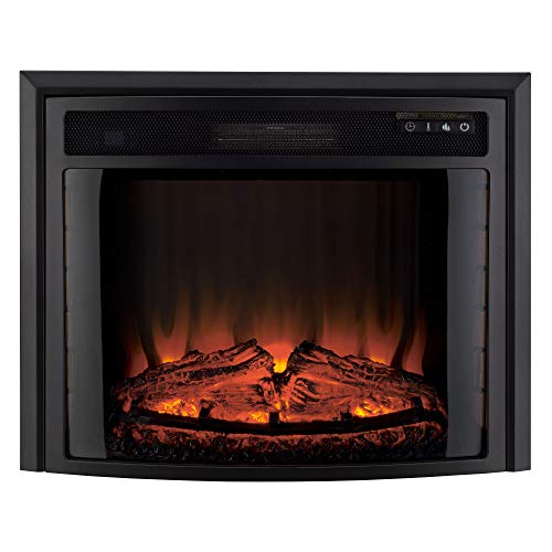 RecPro RV Fireplace 28' | Electric RV Fireplace | Curved Glass | Camper | Heater | Remote Included