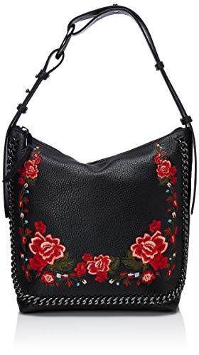 Calvin Klein Liana Pebble Leather Floral Embroidery Belted Top Zip Slouchy Hobo Calvin Klein Liana Pebble Leather Floral Embroidery Belted Top Zip Slouchy Hobo