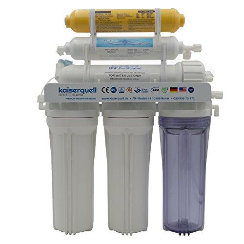 kaiserquell® Premium Umkehrosmoseanlage aus Deutscher Manufaktur 6 stufig filtert MIKROPLASTIK PESTIZIDE NITRAT Wasserfilter kalkfrei veredeltes Trinkwasser aus der Leitung