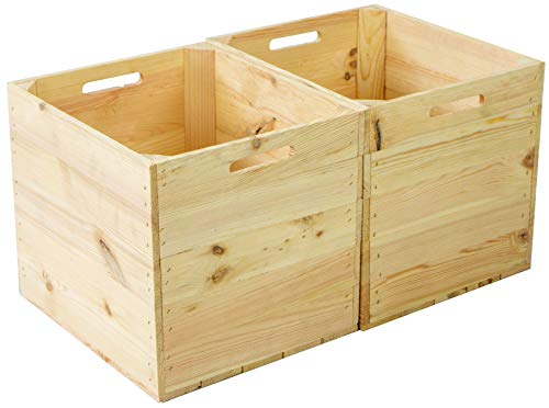Kistenkolli Altes Land Set van 2 rustieke houten kisten op maat voor alle kallaxrekken en Expidit rekken Kallaxysteme wijnkist fruitkist plankkkist afmetingen 33x37,5x32,5cm