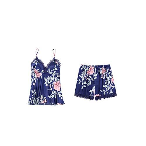 Pijama De Cinco Piezas para Mujer De Primavera Y OtoñO con Almohadillas En El Pecho, CamisóN Sexy, CamisóN De Encaje De Seda De Hielo para Mujer De Verano