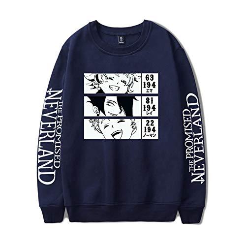 Novo anime The Promised Neverland Emma Norman Ray moletom manga comprida pulôver gola redonda suéter masculino, Azul-marinho - 6, M