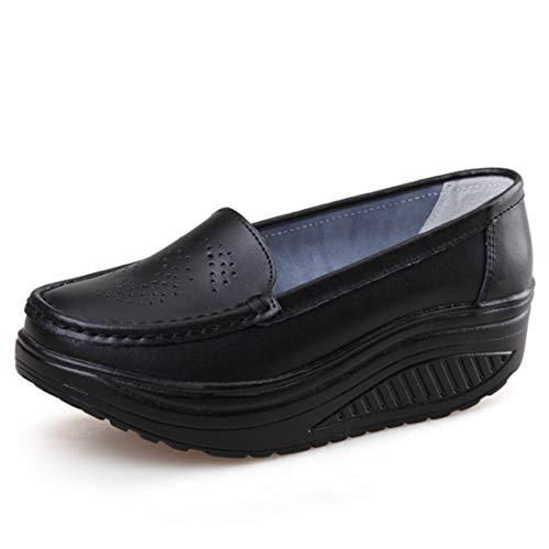 [Regibelie] レディース ナースシューズ スニーカー 厚底 ダイエットシューズ 安全靴 ナースシューズ 看護師 介護士 通気性 柔軟性 本革 通気 エアクッション付き お母さん 婦人靴 軽量 スボーツスニーカー 黒い ブラック 25.0cm