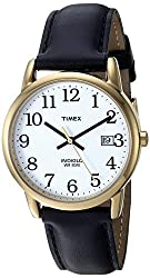 Round watch with easy to read oversized hour markers on dial and date window 35 mm brass case with protective mineral crystal dial window Leather band with buckle closure and date window Water resistant up to 99 feet (30 m) - withstands rain and spla...