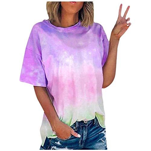 Xniral Damen T-Shirt Tie-Dye Farbverlauf Beiläufig Übergroße Lose Basic Tops Bluse Sport Yoga Shirt Tshirts Rundhals Oberteile(Lila,L)