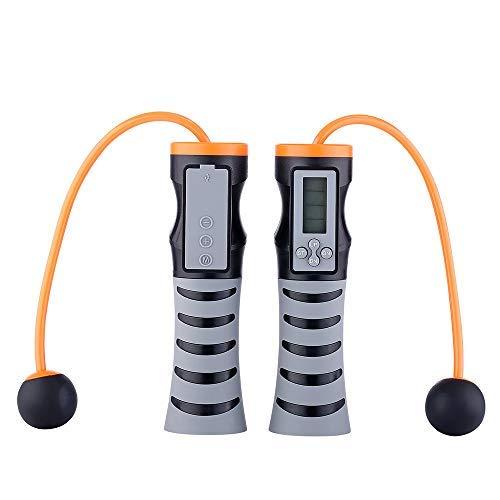 Winnes Springseil für Erwachsene, Fitness, drinnen und draußen, digital, schnurlos, mit Bluetooth-Musik, Zähler, Kalorien und Timer, USB-Ladekabel, Schwarz
