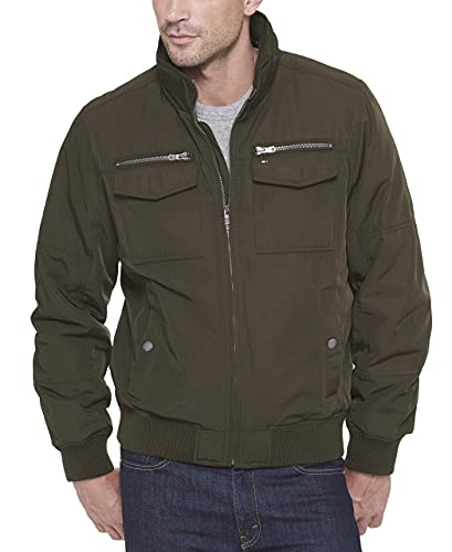 Tommy Hilfiger Men's Water and Wind Resistant Performance Bomber Jacket (Standard and Big & Tall), Army Green Unfilled, Large