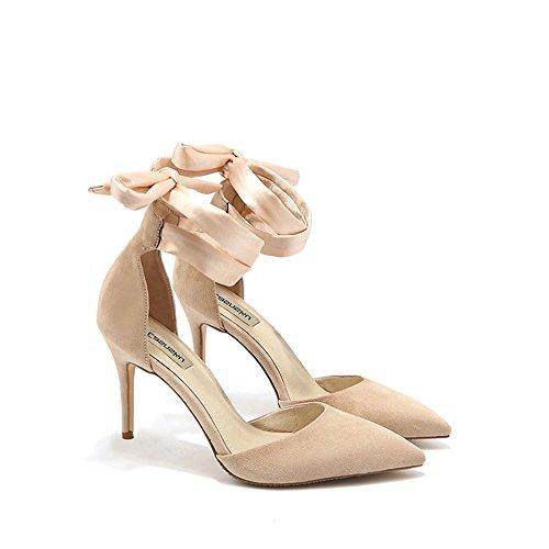 8 cm, 10 cm sandalias de color desnudo de Europa y los Estados Unidos, zapatos de tacón alto acentuados de verano, boca baja sexy bien con ( Color : Nude color8cm , Tamaño : 35 )